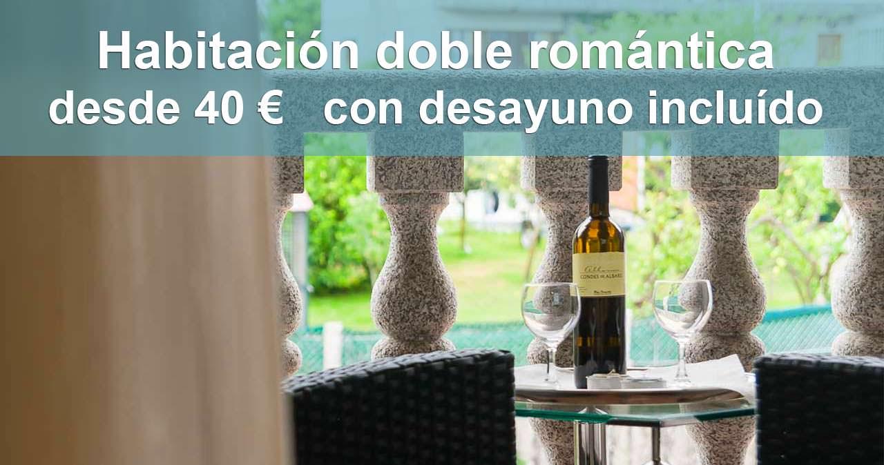Habitación romántica doble desde 40 euros OFerta 2 hotel pontus veteris sanxenxo